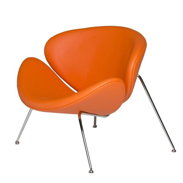 Modrest Anais Contemporary Orange Leatherette Accent Chair