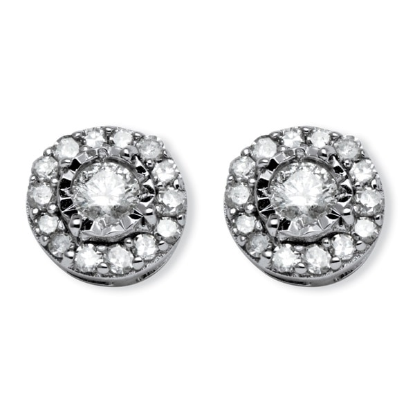 PalmBeach 10k White Gold 1/4ct TDW Round Diamond Stud Cluster Earrings