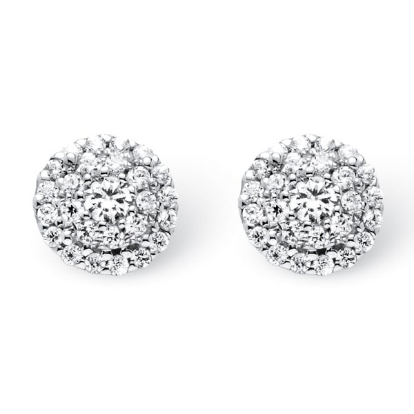 PalmBeach 10k White Gold 1/4ct TDW Round Diamond Cluster Halo Stud Earrings