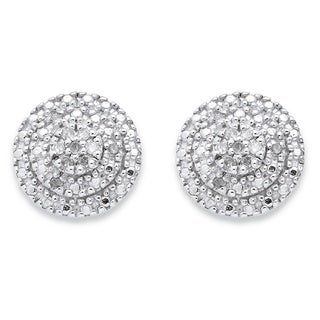 PalmBeach 18k Yellow Gold over Sterling Silver 1/10ct TDW Round Diamond Cluster Stud Earrings
