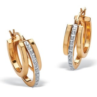 PalmBeach 18k Yellow Gold over Sterling Silver Diamond Accent Fascination Triple Hoop Earrings