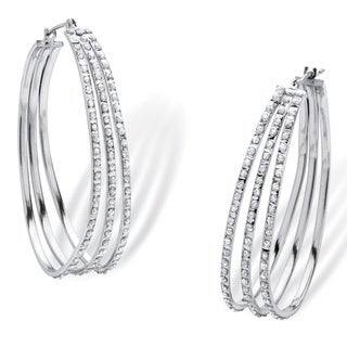 PalmBeach Platinum over Sterling Silver Diamond Accent Fascination Triple Hoop Earrings