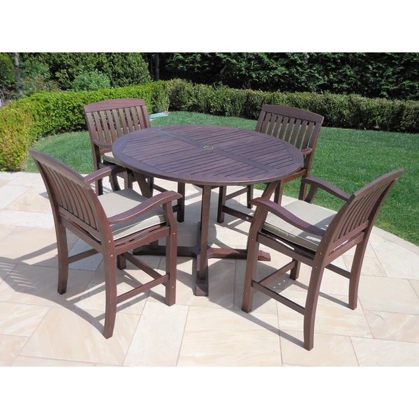 Roble Wood 5-piece Bar High Dining Set with Cushions