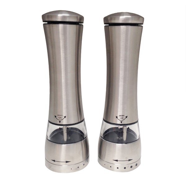 Miu Stainless Steel One Touch Salt and Pepper Grinder (Set of 2)