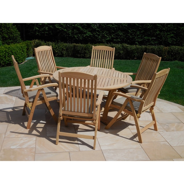 Roble Wood 7-piece Dining Set with Cushions