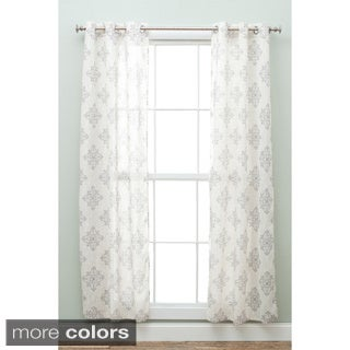 Floral Printed 84-inch Faux Linen Panel Pair