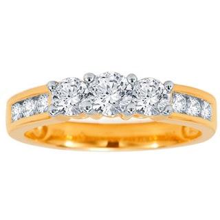Divina 10k Yellow Gold 1ct TDW 3-stone Diamond Engagement Ring (H-I, I1-I2)