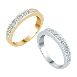 Divina 10k White Gold 1ct TDW Princess Diamond Wedding Band (H-I, I2-I3)
