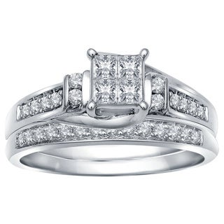 10k White Gold 1/2ct TDW Diamond Invisible Quad Bridal Set