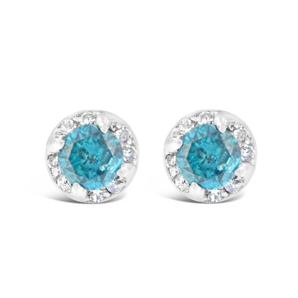 14k White Gold 1ct Round Blue and White Diamond Earrings (I-J I2-I3)