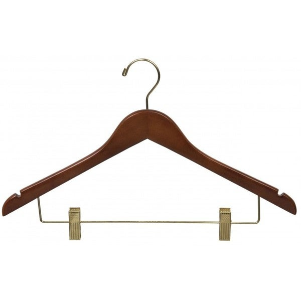 The Great American Hanger Company Walnut Finish Wooden Combo Hanger with Clips and Brass Hardware (Box of 25)