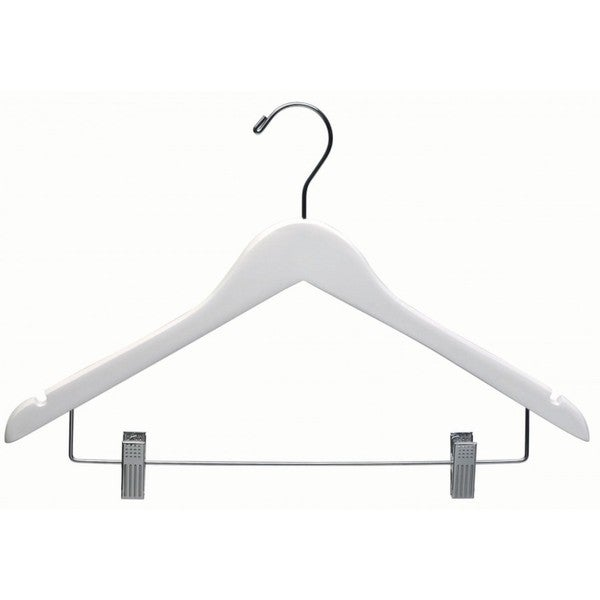 The Great American Hanger Company White Wooden Combo Hanger with Clips (Box of 50)