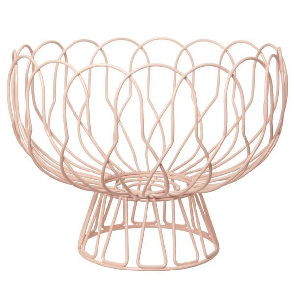 11-inch Pink Metal Wire Fruit Basket