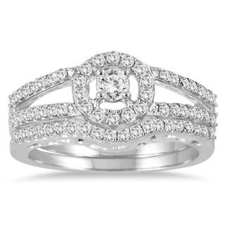 Marquee Jewels 10k White Gold 3/4ct TDW Diamond Halo Bridal Ring Set (I-J, I1-I2)