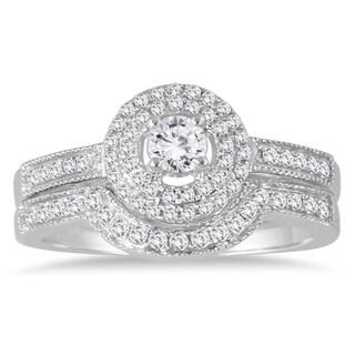 Marquee Jewels 10k White Gold 1/2ct TDW Diamond Halo Bridal Ring Set (I-J, I1-I2)