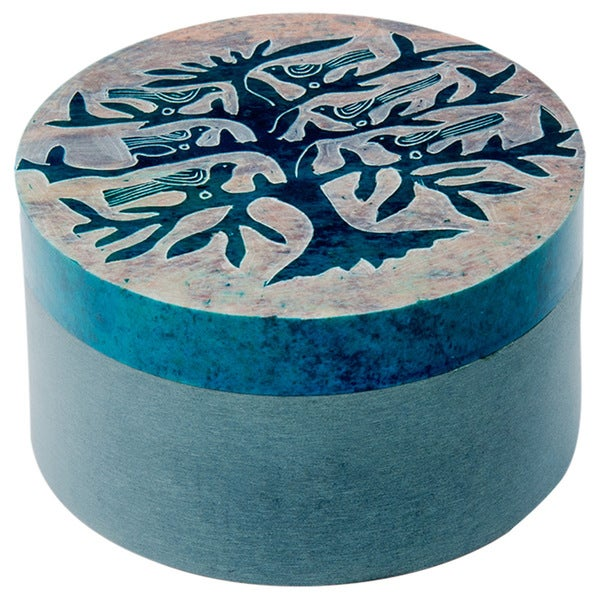 Soapstone Tree of Life Round Keepsakes Box (India)