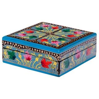 Papier Mache Square Multi-colored Keepsakes Box (India)