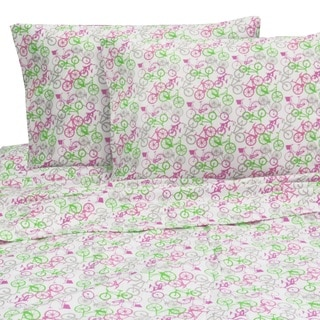 Melanie and Max Pink Bicycles Twin Sheet Set