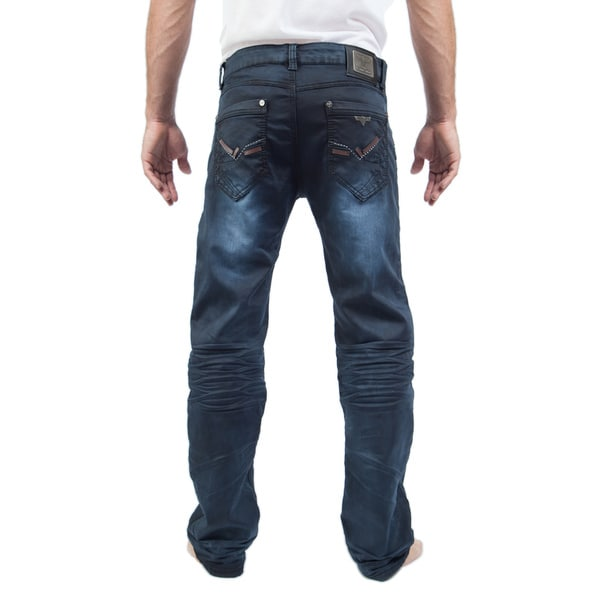 V.I.P Collection Mens Stretch Fit Coated Denim Jeans
