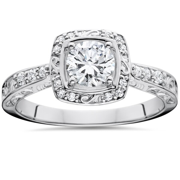 14k White Gold 7/8 ct TDW Sculptural Diamond Engagement Ring (I-J, I2-I3)