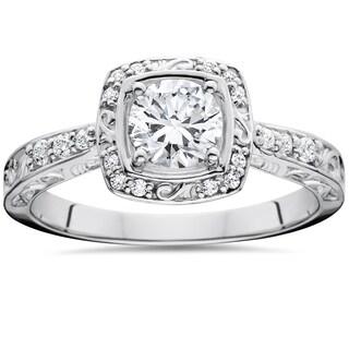 14k White Gold 7/8 ct TDW Sculptural Diamond Engagement Ring (I-J, I2-I3)