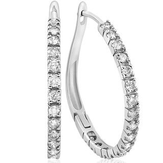 10k White Gold 1ct TDW Diamond Hoops (I-J, I2-I3)