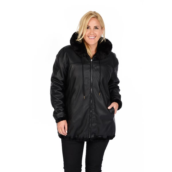Excelled Women's Plus Reversible Black Car Coat