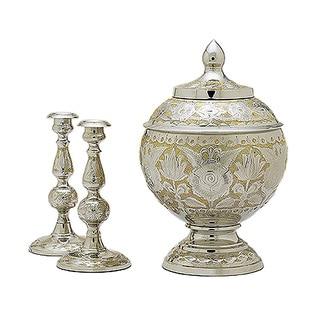 Elegante Silver Gold Cremation Set with Case