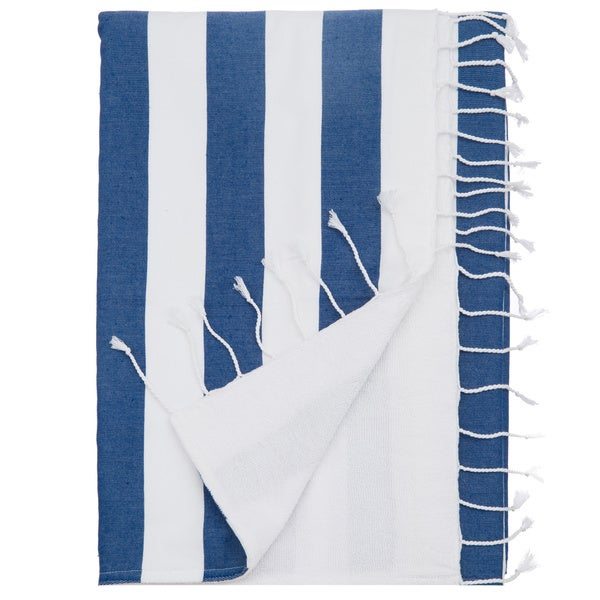 100-percent Turkish Cotton 60-inch Blue Stripe Deck Beach Towel