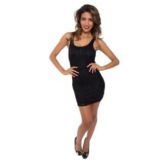 White Mark Black Lace Overlay Bodycon Dress