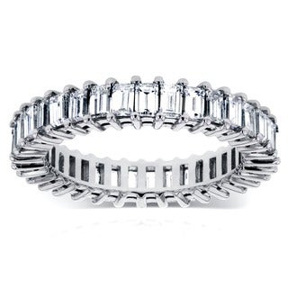 Annello 14k White Gold 3 1/4ct TDW Baguette Diamond Eternity Ring (G-H, VS1-VS2)