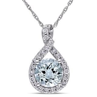 Miadora 10k White Gold Aquamarine and 1/5ct TDW Diamond Necklace (G-H, I2-I3)