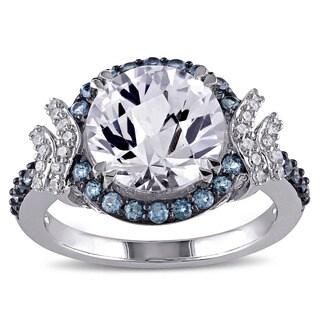 Miadora Silver Multi-gemstone and 1/8ct TDW Diamond Ring (G-H, I2-I3)