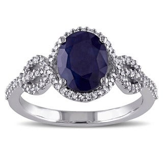 Miadora 10k White Gold Diffused Sapphire and 1/4ct TDW Diamond Ring (G-H, I1-I2)