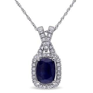 Miadora 10k White Gold Diffused Sapphire and 1/6ct TDW Diamond Necklace (G-H, I1-I2)
