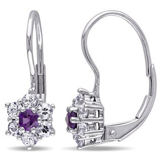 Miadora 10k White Gold Amethyst-Africa and White Sapphire Dangle Earrings