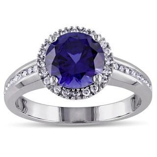Miadora 10k White Gold Created Blue Sapphire and 1/4ct TDW Diamond Ring (G-H, I1-I2)