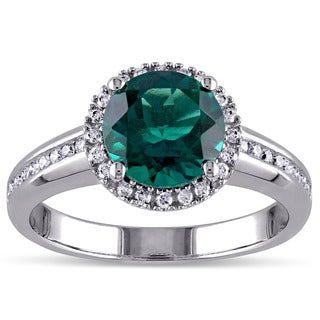 Miadora 10k White Gold Created Emerald and 1/4ct TDW Diamond Ring (G-H, I1-I2)