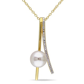 Miadora Yellow Silver Freshwater White Pearl and Diamond Accent Necklace