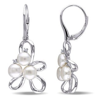 Miadora Sterling Silver Freshwater White Pearl and Diamond Accent Earrings
