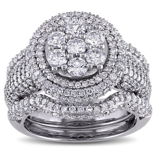 Miadora Signature Collection 10k White Gold 2 1/2ct TDW Round Diamond Bridal Set (G-H, I2-I3)