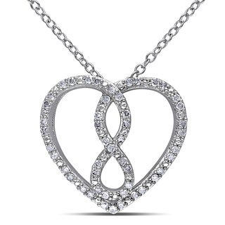 Haylee Jewels Sterling Silver Diamond Infinity Heart Necklace (H-I, I3)