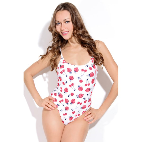 Dippin Daisy's Red & White Strawberry High Cut Vintage One-piece Swimwear