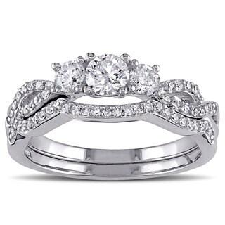 Miadora Signature Collection 10k White Gold 3/4ct TDW Diamond Bridal Ring Set (G-H, I2-I3)