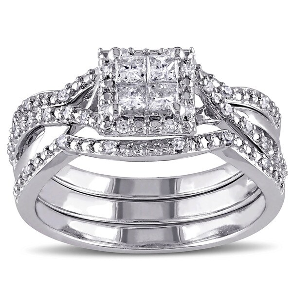 Silver 1 2ct TDW Princess Cut Interlaced Halo Diamond Bridal Ring Set