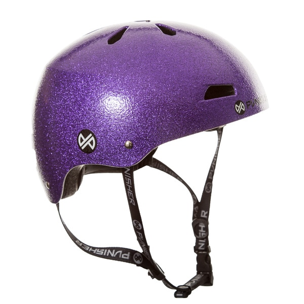 Punisher Skateboards Pro Youth 13-vent Bright Purple Flake Dual Safety Certified Youth/ Teen BMX Bike and Skateboard Helmet