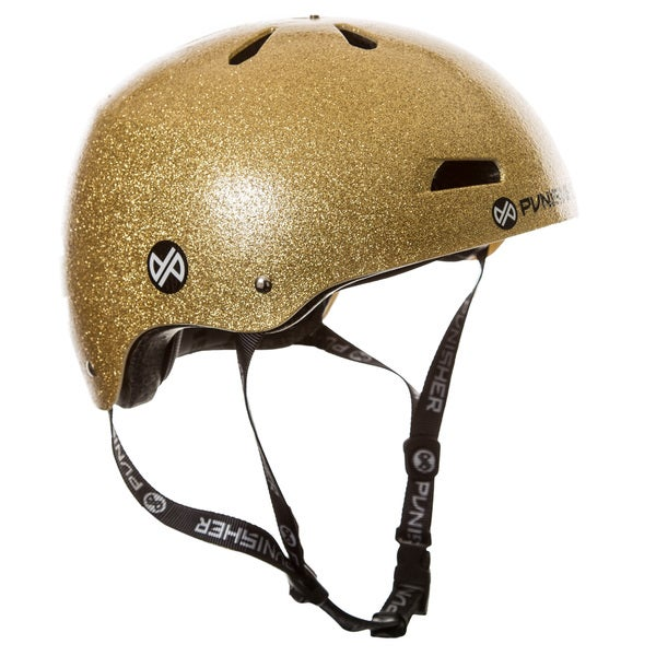 Punisher Skateboards Pro Youth 13-vent Bright Gold Flake Dual Safety Certified Youth/ Teen BMX Bike and Skateboard Helmet
