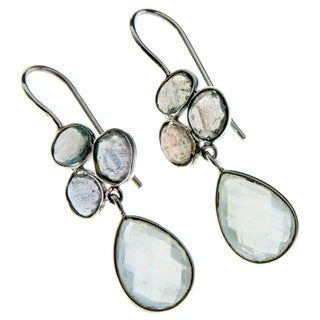 Handmade 925 Sterling Silver Rainbow Moonstone and Labradorite Earrings (India)