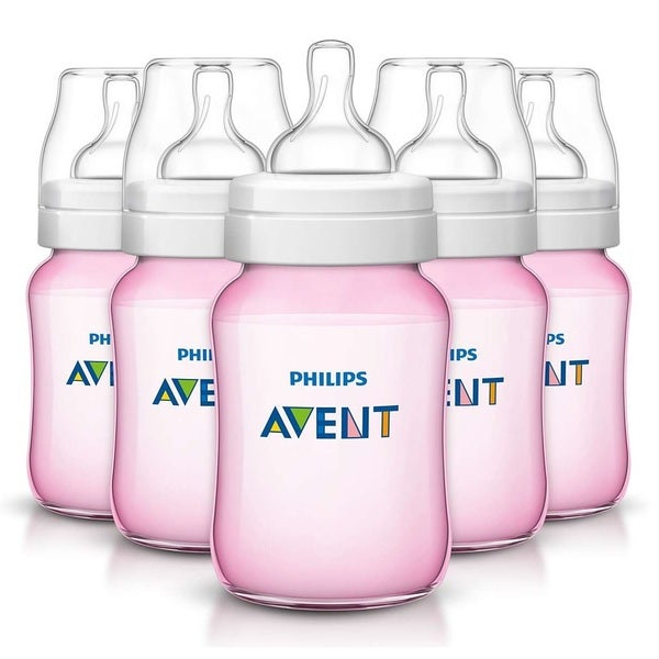 Philips Avent Classic Pink Plus 9-ounce Bottle (Pack of 5)