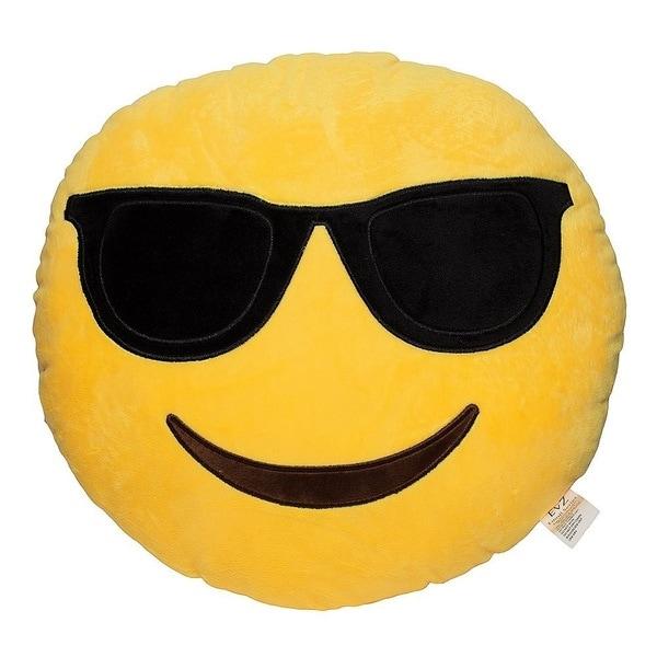 Emoji Shades Yellow Round Plush Pillow
